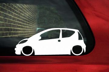 2x LOW peugeot 107 outline stickers ideal for 107 1.4 HDi (1)